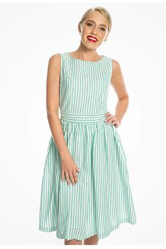 Our vintage inspired Audrey swing dress is now available in deep mint stripe! Sleeveless Swing Dress, Flare Skirt, Get The Look, Striped Dress, Dress Making, Fabric Design, Vintage Dresses, Vintage Inspired, Cotton Fabric