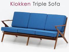Teak Furniture アウトレット北欧デザイン家具klokken3人掛けソファBLチーク材 インテリア 雑貨 Modern ¥105000yen 〆05月16日