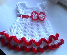 White red Baby Dress crochet bow Christmas baby dress Baby Clothes, Holiday dress, Infant Clothes,Newborn Outfit ,Infant Clothes