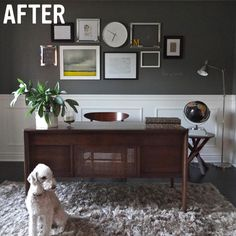 cute dog home office chalkboard gray grey vintage desk west elm gallery wall art artwork display - downstairs room Office Walls, Office Decor, Gallery Frames, Gallery Wall, Guest Bedroom Home Office, Antique Secretary Desks, Black Wainscoting, Desk Inspiration, Office Makeover