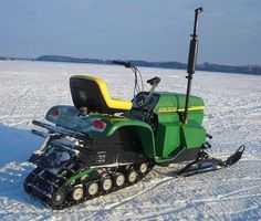 Now, John Deere did at one time build and sell snowmobiles. In fact, there's a pretty active community of guys who collect JD snowmobiles. Old Tractors, John Deere Tractors, Antique Tractors, Lawn Tractors, Small Tractors, Tractor Mower, Triumph Motorcycles, Ducati, Motocross
