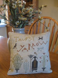 Completed Pineberry Lane Tansy, Yarrow, Rue Primitive Cross Stitch Sampler Pillow