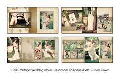 PSD Wedding Album Template - VINTAGE - 10x10 10spread(20 page) design with custom cover. $25.00, via Etsy.