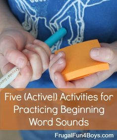 ) Activities for Practicing Beginning Sounds (Scavenger Hunt, Nerf Shoot Out, Post It Notes Around the House, Letter Knock Down, etc) Learning Letters, Alphabet Activities, Literacy Activities, Educational Activities, Activities For Kids, Kinesthetic Learning, Learning Tools, Fun Learning, Kindergarten Literacy
