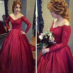 New Arrival Burgundy Satin Prom Dress, Red Ball Gown, Long Sleeves Formal Dresses, Burgundy Wedding Dress, A Line Wedding Prom Formal Gowns
