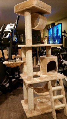 Features: -Cat tree. -Non toxic materials. -Gives your cats their own area to call home. -Plenty of scratching posts to stop your cat from destroying your furniture. -Multiple platforms. -Great