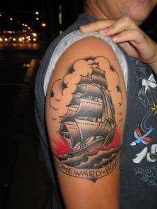 Homeward Bound tattoo in the Sailor Jerry style