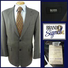 Hugo Boss Blazer Jacket Apollon Men 40R Wool Silk Blend 2 Btns Nailshead weave #HUGOBOSS #TwoButton Best Dress Shirts, Shirt Dress, Office Wear, Cool Patterns, Hugo Boss, Blazer Jacket, Dress To Impress, Looks Great, Weave