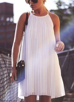 flirty white summer dress - accordian pleats!