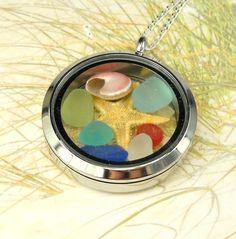 Ocean Memory Locket GENUINE Sea Glass Necklace by seaglassgems4you, $60.00