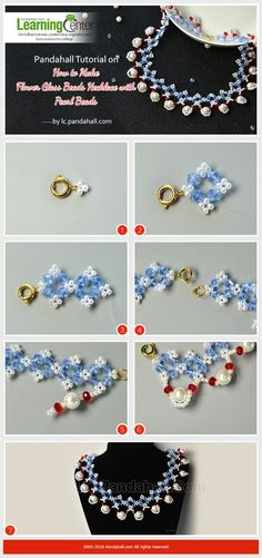 Pandahall Tutorial on How to Make Flower Glass Beads Necklace with Pearl Beads
