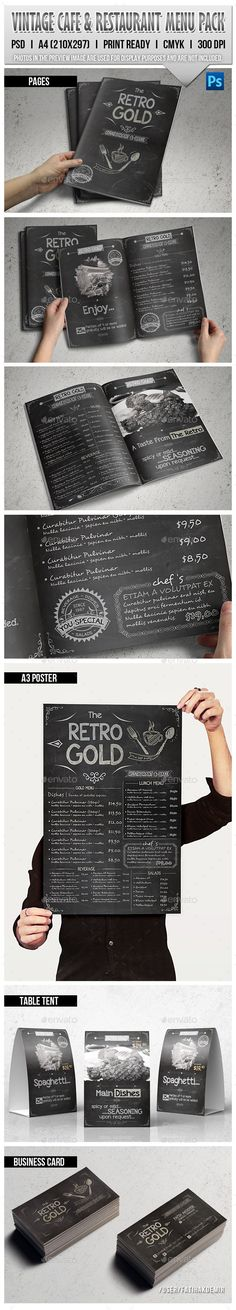 Retro Cafe & Restaurant Menu Pack — Photoshop PSD #business #restaurant • Available here → https://graphicriver.net/item/retro-cafe-restaurant-menu-pack/11111466?ref=pxcr