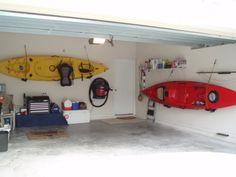 Use car kayak racks to hang your kayaks