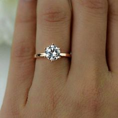 Solitaire engagement ring with rose gold band 1.5 Ct #engagementring #solitaire #diamondengagementringsrosegold