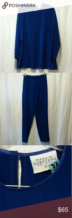 Maggie Shepherd 2pc set EUC.  Like new, beautiful Cobalt Blue 2pc set. Tunic length top w/Satin trim on neckline, bottom, and cuffs.  Elastic waist pants.  No pockets.  Sz M.  92% Poly  8% other.   Has been dry cleaned. Maggie Shepherd Other