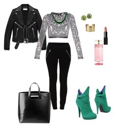 """""""Untitled #30"""" by dina-sulejmanovic ❤ liked on Polyvore featuring Yves Saint Laurent, Hervé Léger, VILA, Blue Nile, Tiffany & Co., J APOSTROPHE, Bling Jewelry, NARS Cosmetics and Prada"""