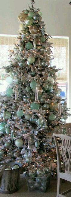 Christmas •~• aqua & silver tree: