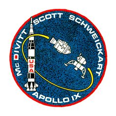 The insignia of the Apollo 9 space mission February 1969 The crew consisted of James A. David R. and Russell L. Nasa Missions, Moon Missions, Apollo Missions, Apollo Space Program, Nasa Space Program, Apollo 11, Space Patch, Nasa Patch, Nasa History