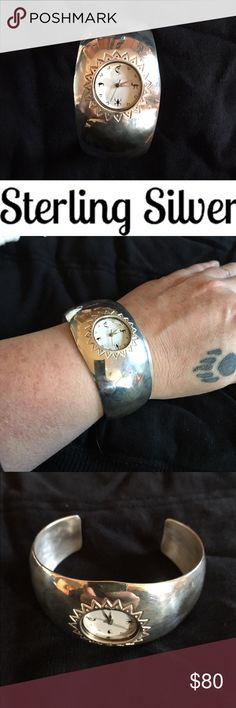 STERLING SILVER VINTAGE WATCH, NAVAJO. STERLING SILVER VINTAGE WATCH. Navajo watch face. Beautiful pc! Easily polished with jewelry cloth or jeweler. Price is firm unless bundling. Navajo Jewelry Bracelets