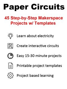 Paper Circuits Book & Kit - Learn about electricity while creating interactive circuits in your makerspace. LEDs, copper tape, coin cell batteries, PDF
