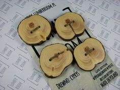 Set of 4 Cypress Buttons, Handmade from reclaimed wood, organic, natural finish.