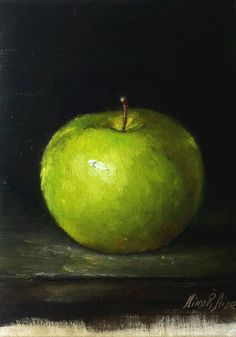 Still LIfe with Green Apple is painted in in chiaroscuro style on linen panel 7x5 inches. Painted from life with professional artist grade oil