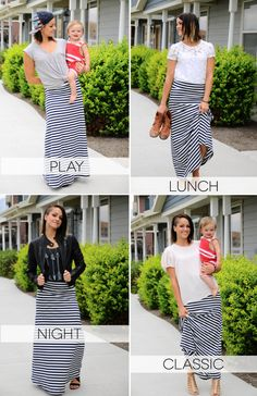 4 fun ideas for styling your #LuLaRoe #Maxi Skirt! Now that you have inspiration, come shop with us: www.facebook.com/groups/lularoekateandlea