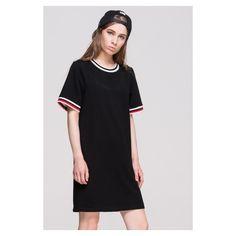 FRS Black Baseball Tee Dress (£38) ❤ liked on Polyvore featuring dresses, baseball tshirt, baseball style t shirts, baseball t shirts, baseball tee dress and baseball tee shirts