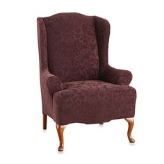 Sure Fit® Stretch Jacquard Damask Wing Chair Slipcover in Raisin