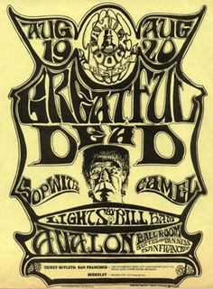 Poster for August 19 and 20 1966 Performance by the Grateful Dead with Lighting by Bill Ham