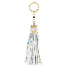 """<P>This Large Holographic Tassel Key Ring is the perfect way to accessorize your favorite hand bag or key set. Holographic tassels come in a snake skin finish with gold tone hardware.</P><UL><LI>Materials: metal, fabric<LI>Gold tone hardware<LI>7.75"""" L</LI></UL>"""