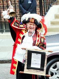 Nothing like tradition! Longtime Town Crier Tony Appleton was on the scene outside of St. Mary's Hospital in London on Saturday, May 2, to make his special announcement that Kate Middleton and Prince William welcomed a new baby girl.
