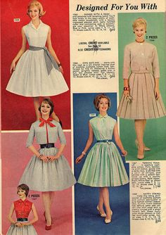 Elegantly sweet frock fashions from a 1962 Lana Lobell catalog. Ladies in the sixties really got in touch with their feminine side.