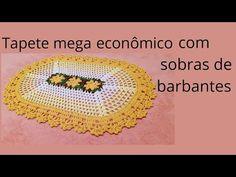 TAPETE CROCHÊ ECONÔMICO E MUITO FÁCIL, FEITO COM SOBRAS DE BARBANTES , PASSO A PASSO - YouTube Crochet Doilies, Crochet Hats, Crochet Table Mat, Toilet Paper Roll, Macrame, Elsa, Crochet Earrings, Youtube, Colorful Rugs