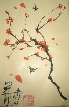 Sakura Tree and Birds [JAPANESE CALIGRAPHY]
