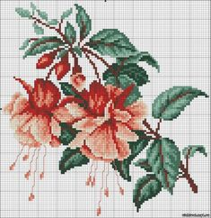 Fuchsia II - cross stitch kit, manufactured by RTO. Cross Stitch Borders, Cross Stitch Flowers, Cross Stitch Kits, Cross Stitch Charts, Cross Stitch Designs, Cross Stitching, Cross Stitch Embroidery, Cross Stitch Patterns, Embroidery Flowers Pattern