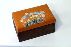 Decorative wooden box for girls - Wooden jewelry boxes - Keepsake brown box -Birthday Gift box Jewelry lover - wooden box - Brown floral jewelry box - Flowers box