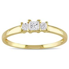 Miadora 10k Gold 1/4ct TDW Princess Diamond Traditional 3-stone Ring