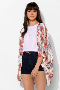 Kimchi Blue Scarf-Print Kimono Jacket .. Been wanting one for way too long. This one is PURF.