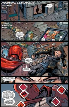Cassandra Cain is Grayson's only lead in solving the mystery of Mother…but will he be able to interrogate her before Red Hood takes her out? In the past, Batman must save Robin from a fear toxin-induced panic! Red Hood Jason Todd, Batman Robin, Batman Red Hood, Black Bat, Arkham Knight, Collor, Batman Family, Comic Panels, Marvel Dc Comics