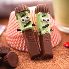 Franken-Kit Kats I would use cookie sticks or graham cracker sticks for daycare.