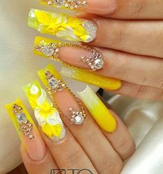 cute nail art designs can reflect the bright, cheerful summer. These 15 ideas will inspire you. You can express joy, cheerfulness, and bright days with the right nail arts. Long Nail Designs, Cute Nail Art Designs, Beautiful Nail Designs, Beautiful Nail Art, Gorgeous Nails, Amazing Nails, Gold Glitter Nails, Rhinestone Nails, Bling Nails