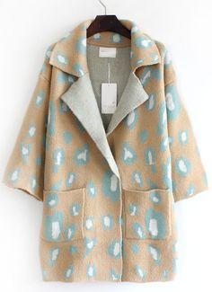 Camel Lapel Leopard Pockets Loose Cardigan - Sheinside.com