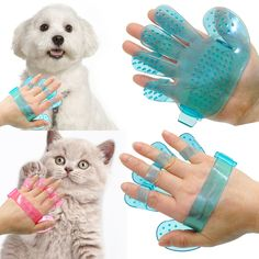 2pcs Pet Dog Cat Grooming Shower Bath Massage Brush Comb Hand Shaped Glove Comb Blue Pink // Worldwide FREE Shipping //     #supplies