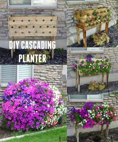 This awesome cascading planter is a great way to add TONS of color to your yard! Tutorial from Hertoolbelt: http://www.hertoolbelt.com/pallet-planter-box/