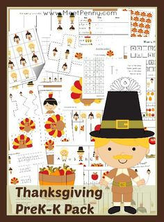 Printable Thanksgiving Pack for PreK K with over 25 activities - Free for a limited time.