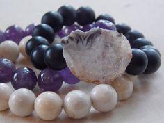 Geode Bracelet / Boho Stacking Bracelets / Amethyst Bracelet / Riverstone Bracelet / Boho Jewelry / Stacking Bracelets / Set of Bracelets by MalieCreations on Etsy