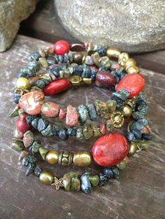Believe and Inspire five wrap memory wire beaded by DFInspirations, $40.00