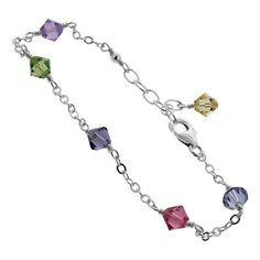 925 Sterling Silver Swarovski Crystal Elements Multicolor Adjustable Anklet ** Insider's special review you can't miss. Read more  : Jewelry