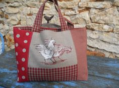 sac cabas lin poules pois vichy campagne